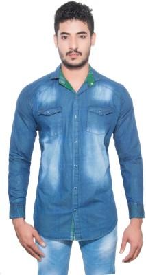 Goodkarma Men's Self Design Casual Blue Shirt