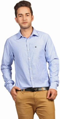 P4 Men's Striped Casual Light Blue Shirt