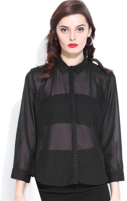 D Muse by DressBerry Women's Printed Casual Black Shirt at flipkart