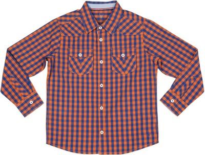 Allen Solly Boy's Checkered Casual Orange Shirt