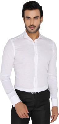 Mode De Base Italie Men's Solid Casual, Formal Linen White Shirt