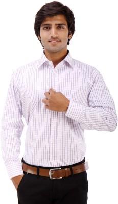 Elite Formals Men's Checkered Formal White Shirt