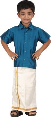 APR Brand Boy's Solid Wedding Blue Shirt