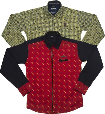 G-apple Boy's Printed Casual Red, Yellow Shirt