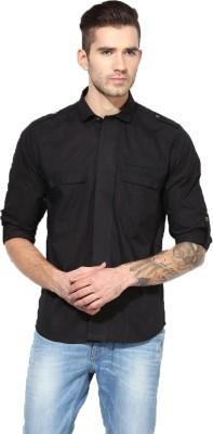 MONTEIL & MUNERO Men's Solid Casual Black Shirt
