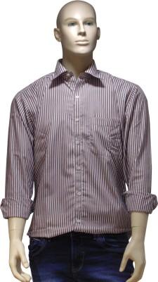 EXIN Fashion Men's Striped Formal White, Maroon Shirt