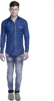 Aligatorr Men's Printed Formal Blue Shirt