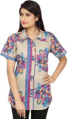 India Inc Women's Printed Casual Beige, Pink Shirt