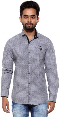 FIFTY TWO Men's Printed Casual Grey Shirt