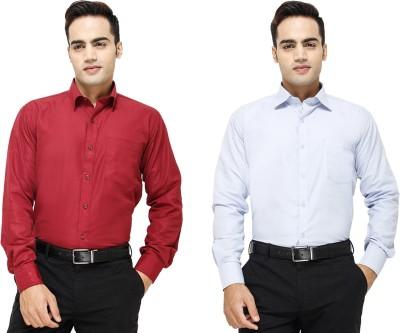 Yuva Men's Solid Formal Maroon, Light Blue Shirt