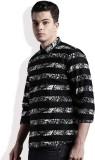Kook N Keech Men's Striped Casual Black ...