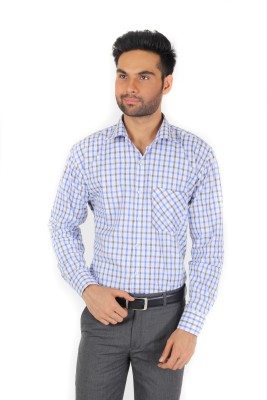 Spaky Men's Checkered Formal Blue Shirt