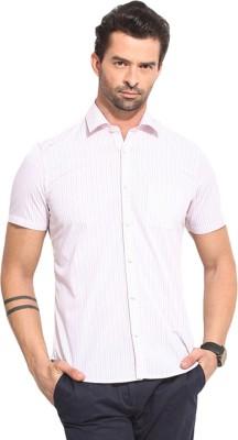 Leo Sansini Men's Striped Casual Pink Shirt