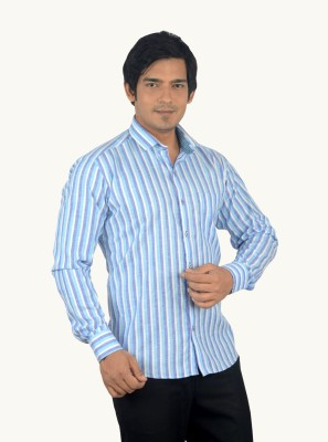 Radbone Men,s Striped Formal Linen Blue Shirt