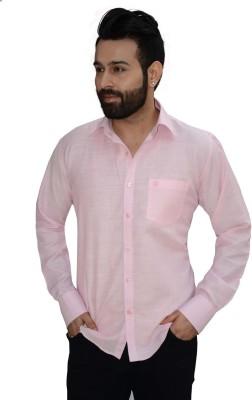 Big Brother Men's Solid Formal Linen Pink Shirt