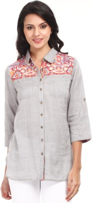 Mustard Women's Printed Casual Grey Shirt