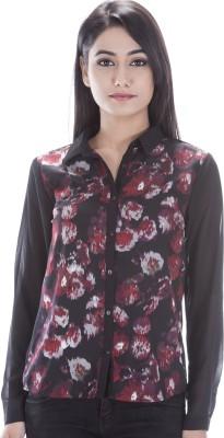 Peppermint Blues Women's Floral Print Casual Multicolor Shirt