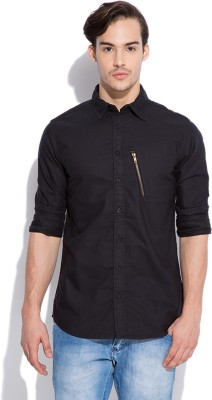 Silly People Men's Solid Casual Black Shirt