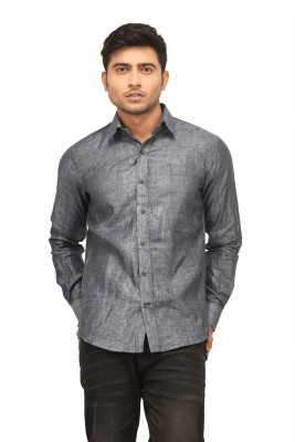 Alpha Centauri Men's Solid Formal Grey Shirt