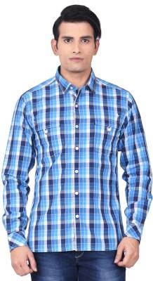 Moustache Men's Checkered Casual Blue, White Shirt