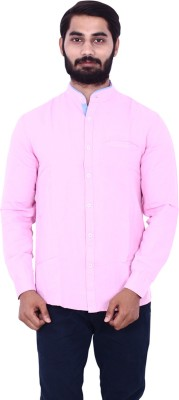 US Designs Men's Solid Casual Pink Shirt