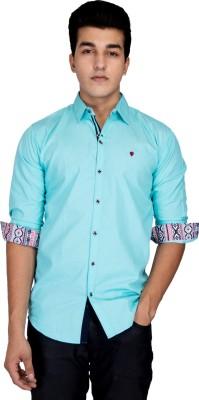 Jhon Poul Men's Solid Casual Light Blue Shirt