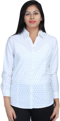 Estella Fashion Women's Printed Formal White Shirt