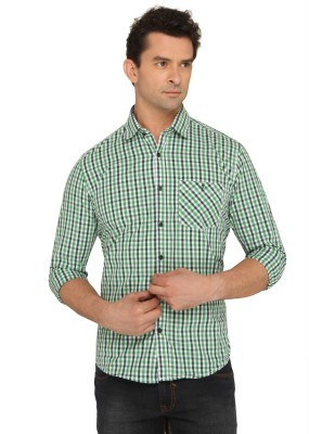 Donear NXG Men's Checkered Casual Green Shirt