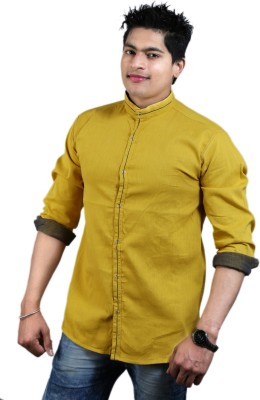 Vigroll shirts Men,s, Boy's Solid Casual Reversible Yellow Shirt