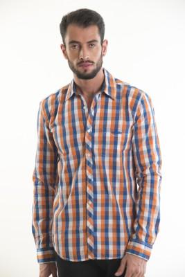 Kart & Kriss Men's Checkered Casual Blue, Orange Shirt