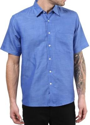 Vivid India Men's Solid Casual Linen Blue Shirt