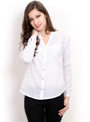 Pique Republic Women's Solid Formal White Shirt