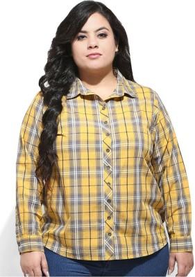 Amydus Women's Checkered Casual Yellow Shirt