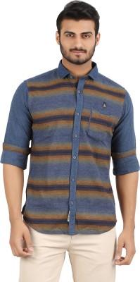 Volume Zero Men's Striped Casual Brown Shirt