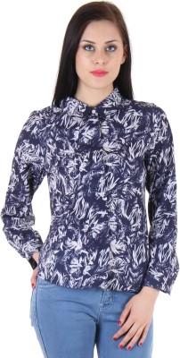BONHEUR Women's Printed Casual Blue, Blue Shirt