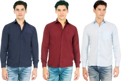 Atmosphere Men's Solid Formal Blue, Maroon, Light Blue Shirt