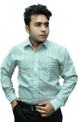 Fashion Tree Men's Striped Formal White, Light Green Shirt