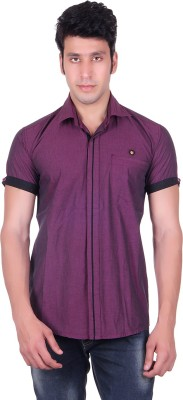 PICKLE Men's Solid Formal Purple Shirt