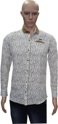 Menz Fashion Men's Printed Casual White, Gold Shirt