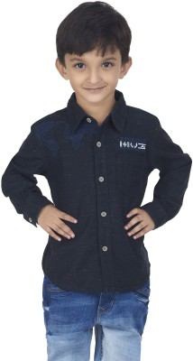 SuperYoung Boy's Solid Casual Dark Blue Shirt