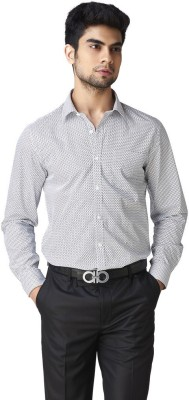 Warewell Men's Printed Formal White Shirt