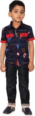 I-Voc Boy's Printed Casual Blue, Red Shirt