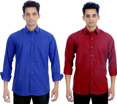 Atmosphere Men's Solid Formal Dark Blue, Maroon Shirt