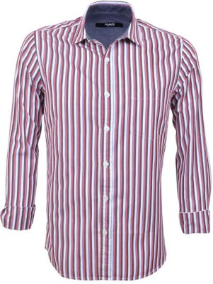 Legato Men's Striped Wedding, Casual, Party, Formal Red, Black, White Shirt