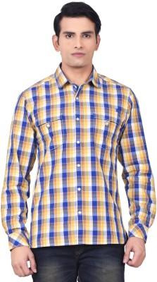 Moustache Men's Checkered Casual Yellow, Blue Shirt