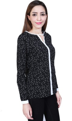 Urban Religion Women's Self Design Casual Black Shirt