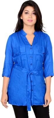 Jazzy Ben Women's Solid Casual Blue Shirt