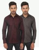Kalpatru Men's Solid Formal Brown, Grey ...