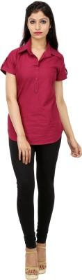Kyaara Women's Solid Casual Maroon Shirt