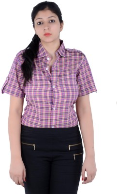 S9 Women's Checkered Casual Pink, Yellow, Black, Multicolor Shirt